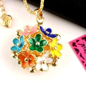 Betsey Johnson Golden Pendant Multi-Color Flowers